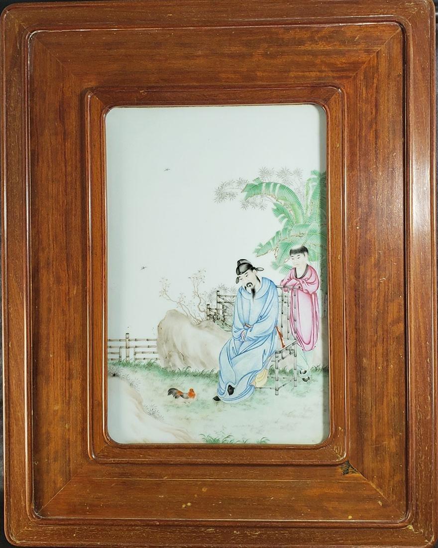 Lg Chinese Porcelain Plaque w/ Elder 19 c