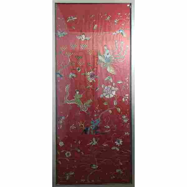 Antique Chinese Embroidery Silk Panel Qing Period