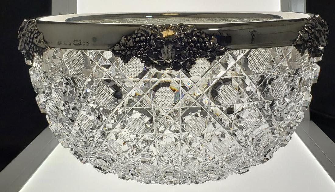 LG ABP Double Cut Glass Octagon Bowl With Gorham Silver