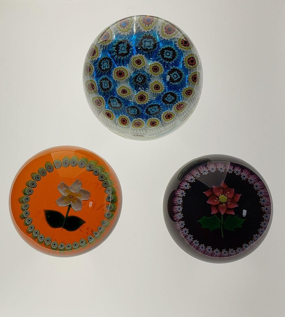 Lot of 3 Antique Art Glass Paperweights Caithness Mura