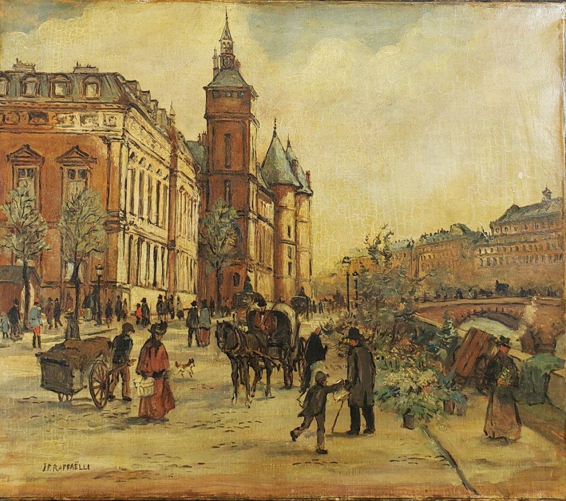 Signed J F Raffaelli Cityscape Street Scene 1850-1924