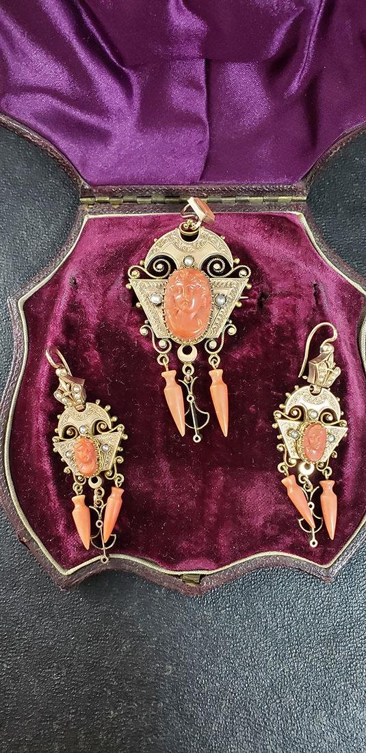 Victorian 14K Carved Coral & Seed Pearls Demi-Parure