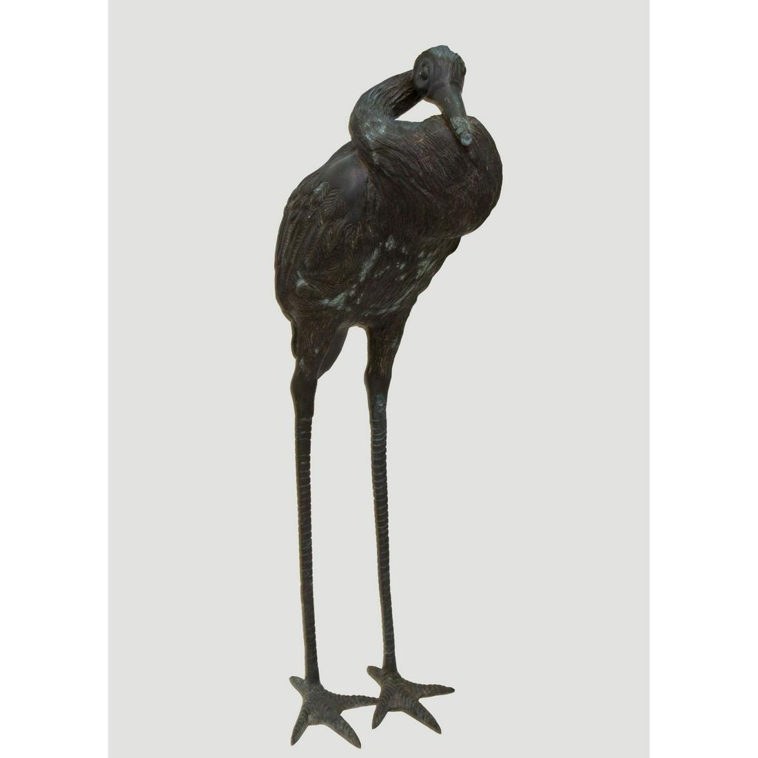 Antique Meiji Period Bronze Crane Garden Sculpture