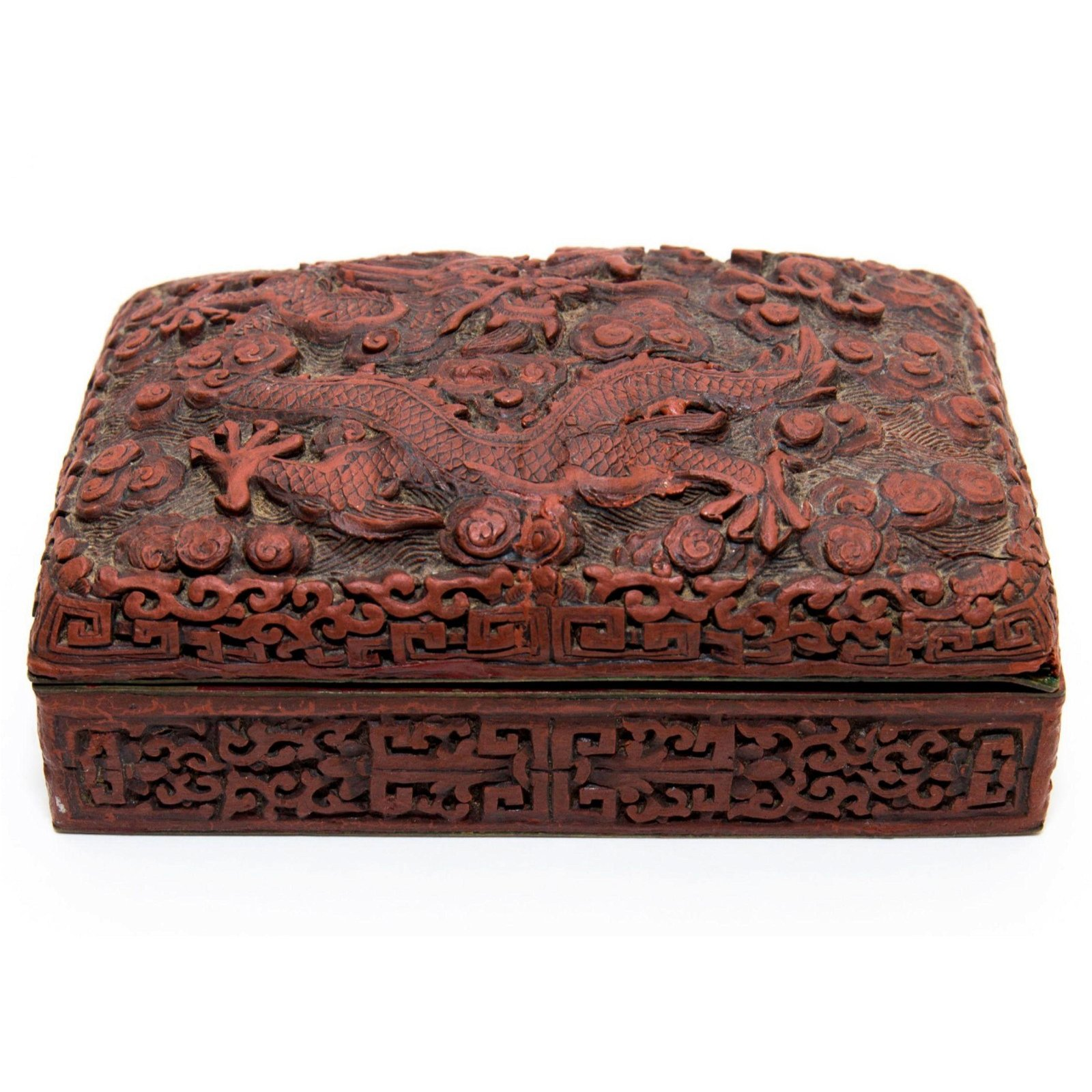 Chinese Carved Cinnabar Lacquer Dragon Enamel Box 19 c
