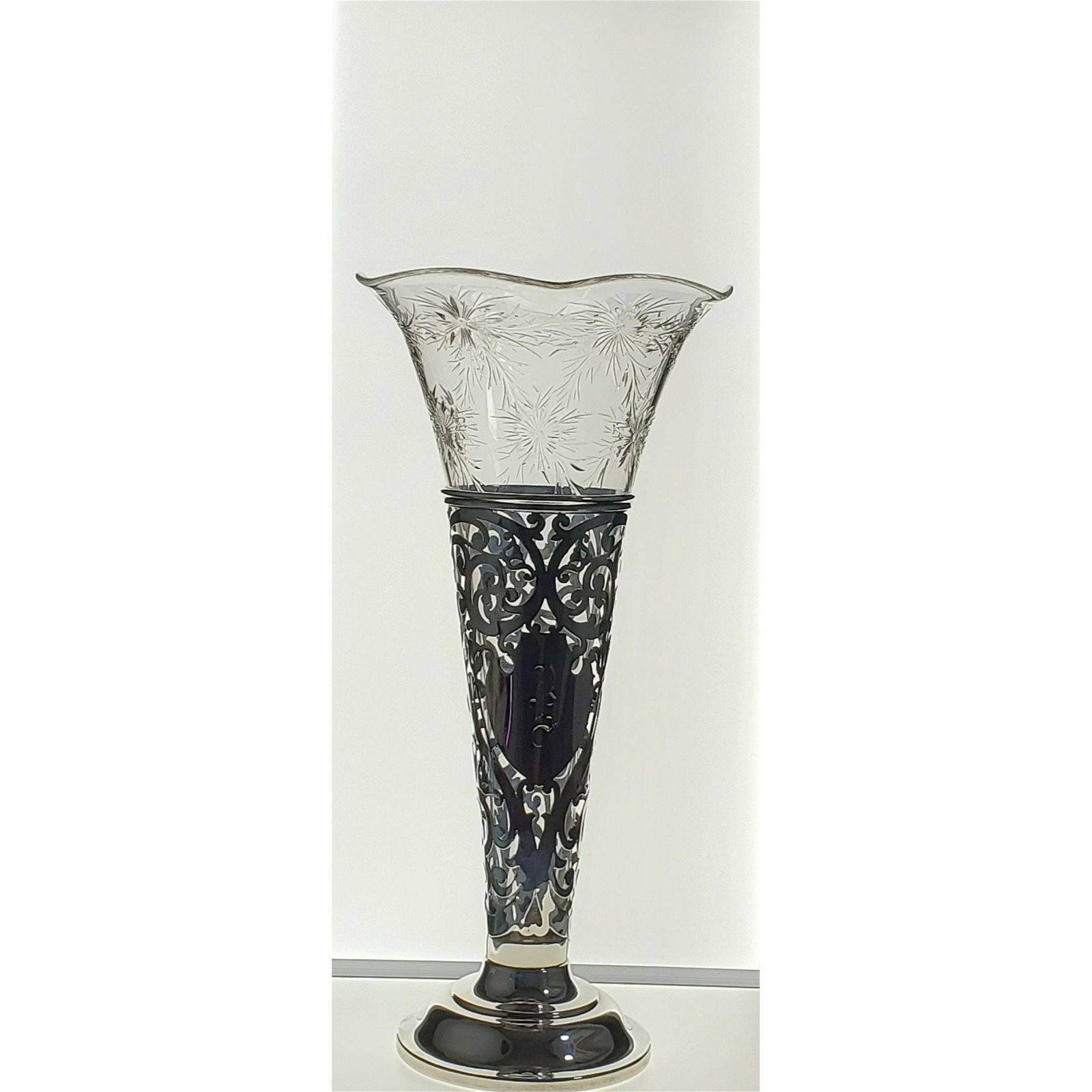 ABP Polished Engraved Vase In Sterling Silver Base.