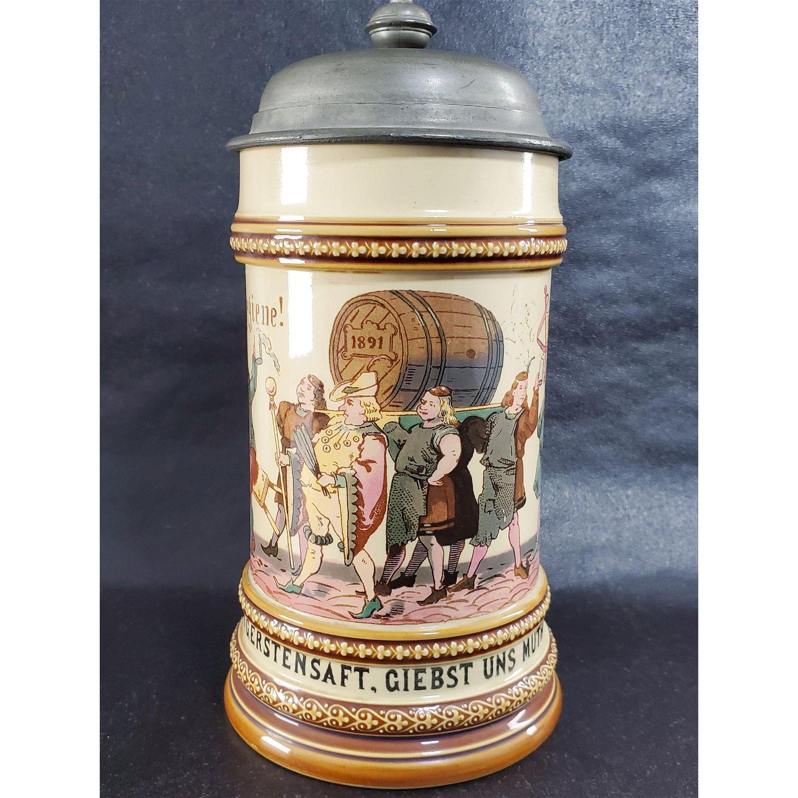 Antique Geschutzt German Beer Stein 19th C V.B 280