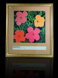 Andy Warhol Silkscreen Lithograph Flowers 1964 Signed
