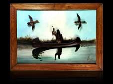 J Hodge 1933 folk art painting carved Indian & ducks