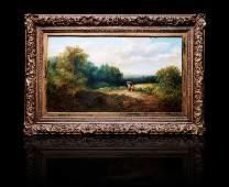 Lg antique o/c landscape painting signed 19th c