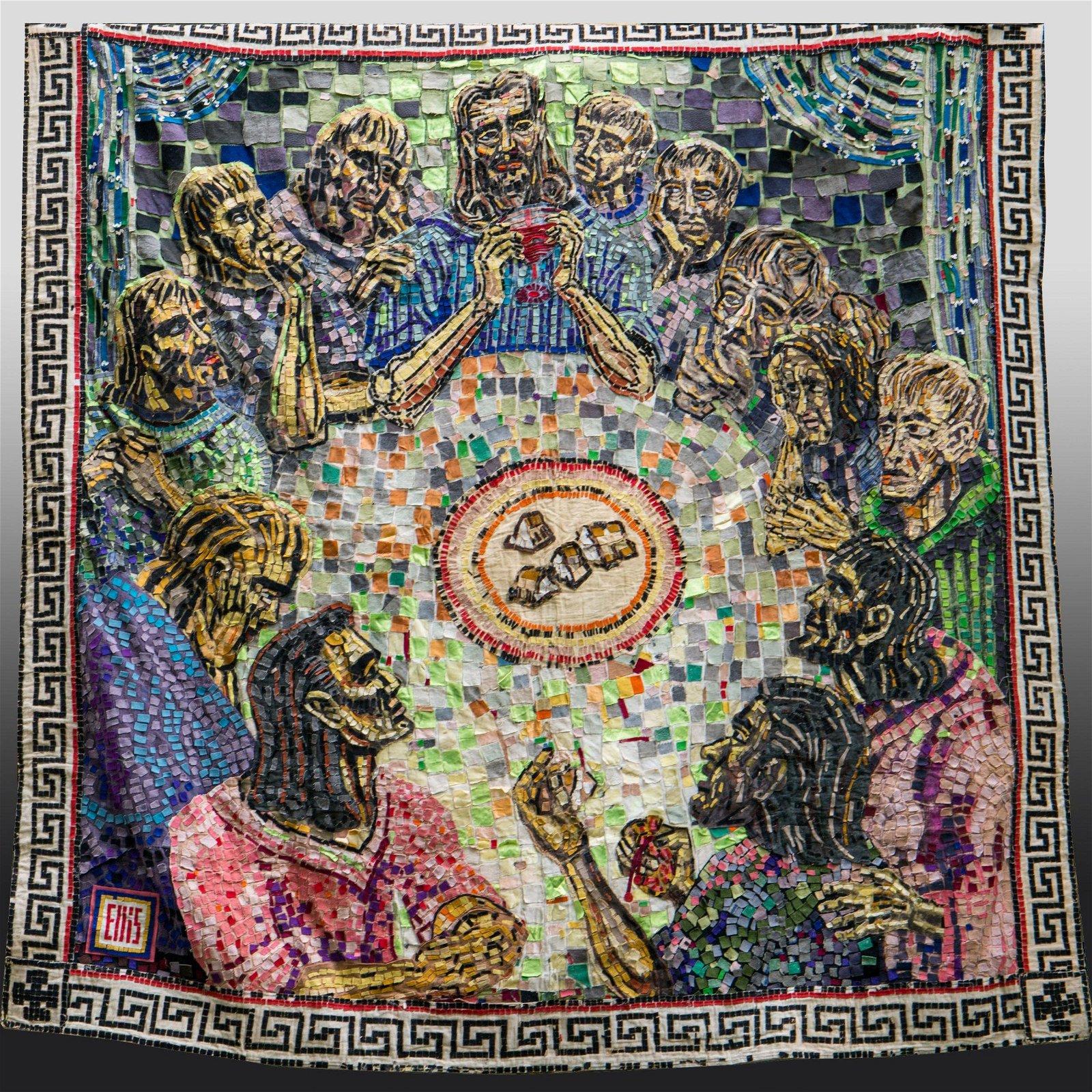 Mid Century Religious Mosaic Textile Quilt Tapestry