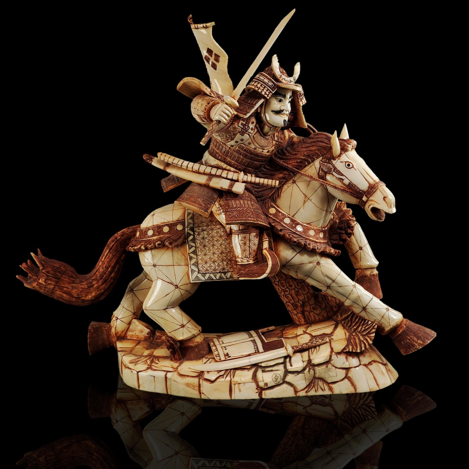 Lg Japanese carved bone sculpture of a warrior on horse