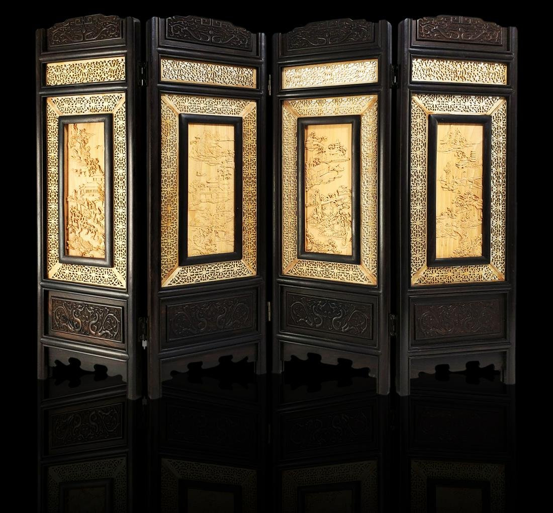 Contemporary carved Chinese hardwood screen signed