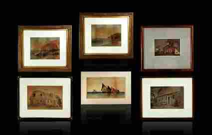 6 Signed Watercolors Francis Augustus Silva 1835-1886