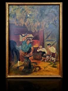 Colonial America Maine Folk Art Painting sons dog