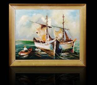 Vintage New England Harbor Ship Painting