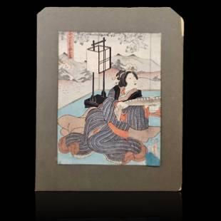 Signed Japanese woodblock print signed Toyokuni 1768