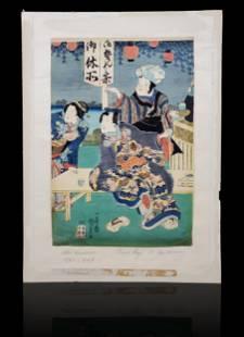 Japanese woodblock print signed Kunisada 17851864