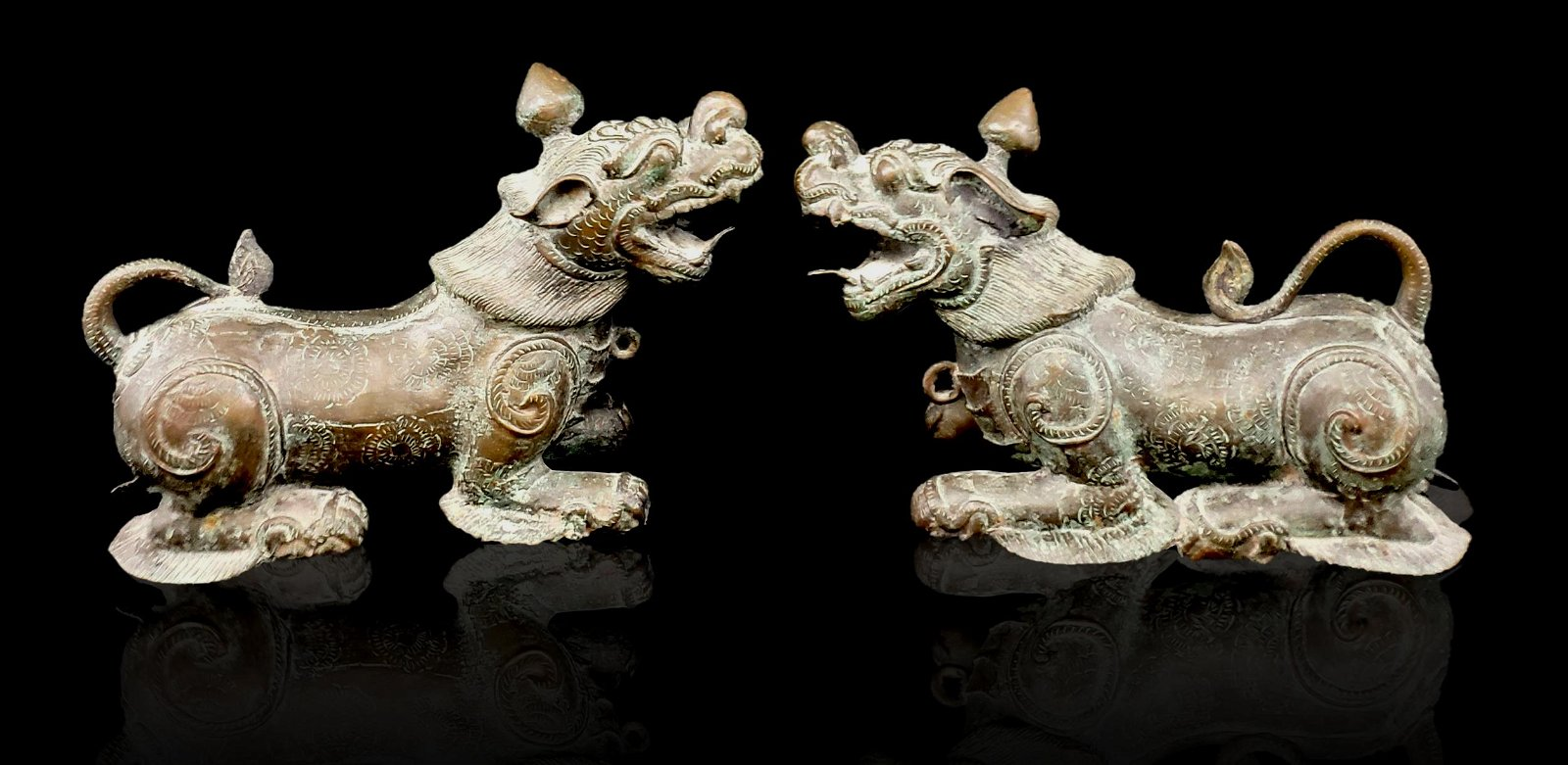 Pr of Antique Chinese Bronze Foo Dogs 19 C / Earlier