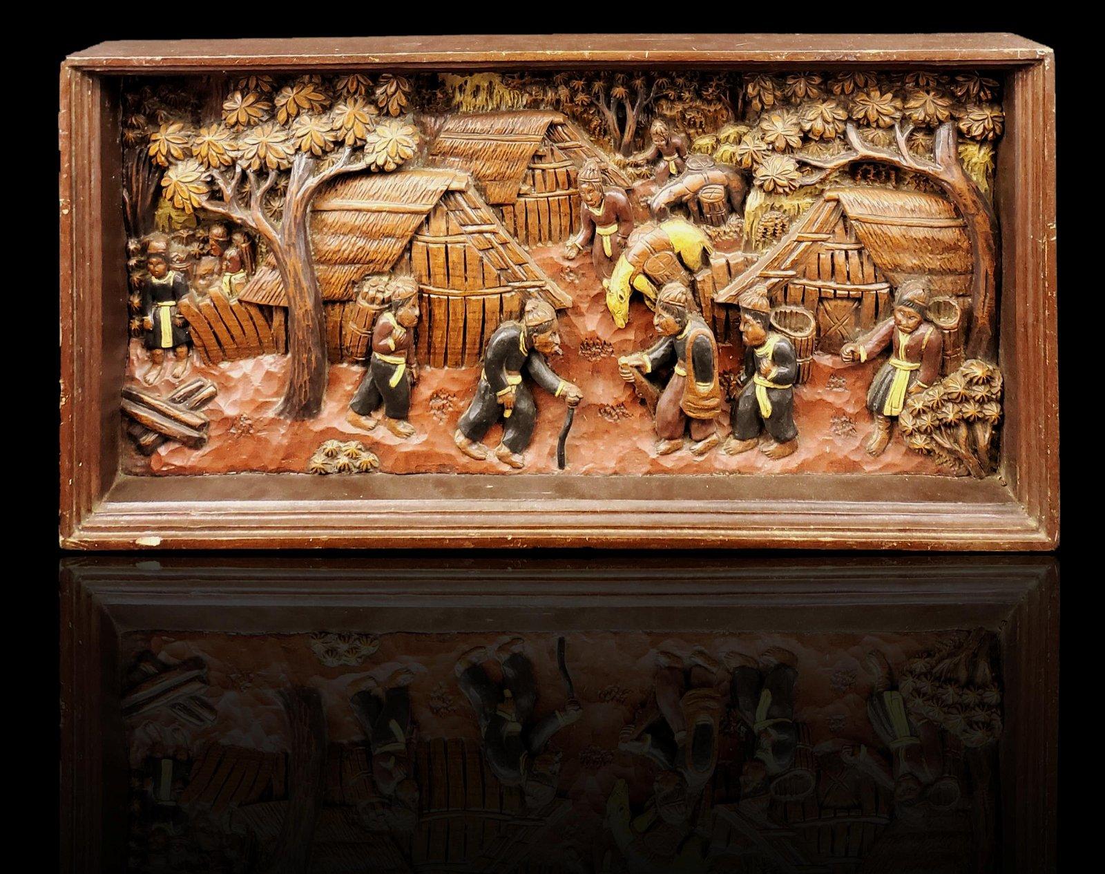 Vintage carved wooden Asian sculpture