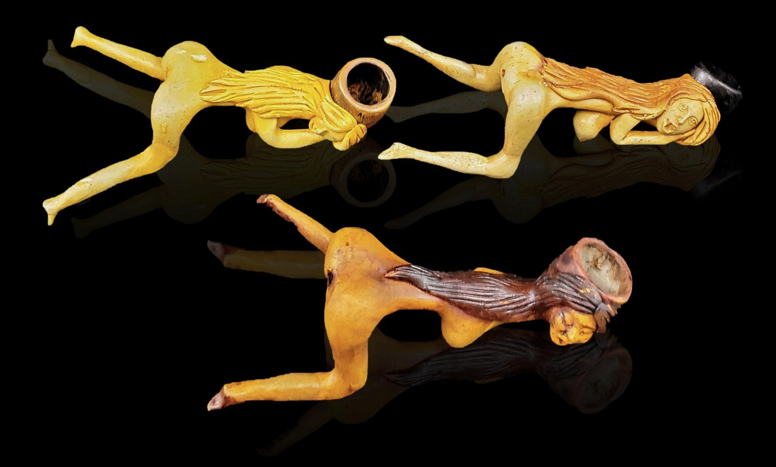 3 Erotic Pipes NUDES made from clay