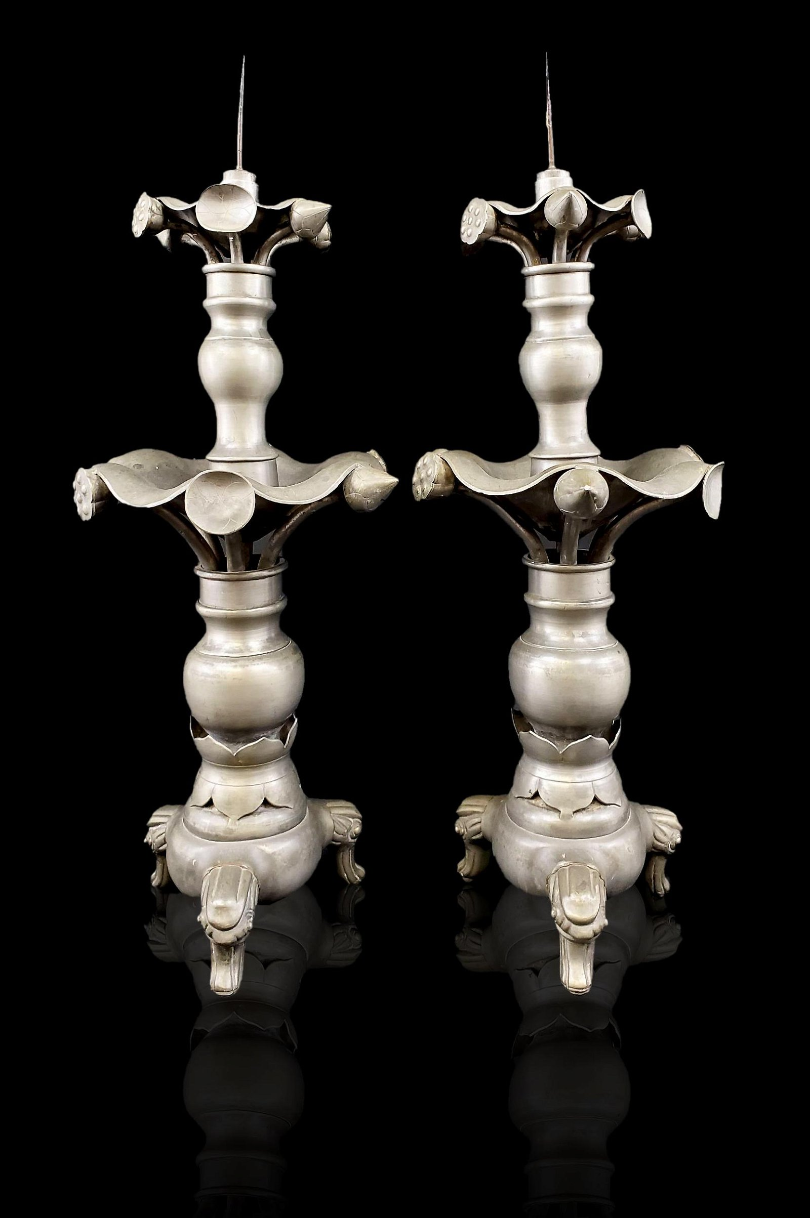 A large pair of Chinese pewter candlesticks 19th c