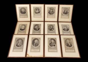 Set of 12 Jacob Houbraken Portrait Engravings 18 Cent