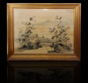 Large Chinese silk landscape painting 19th c