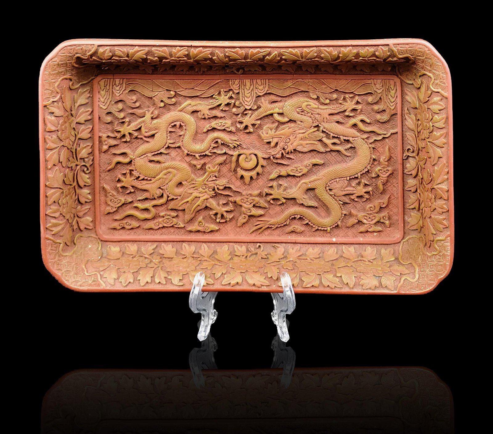 A Chinese Cinnabar Style Dragon Platter RESIN