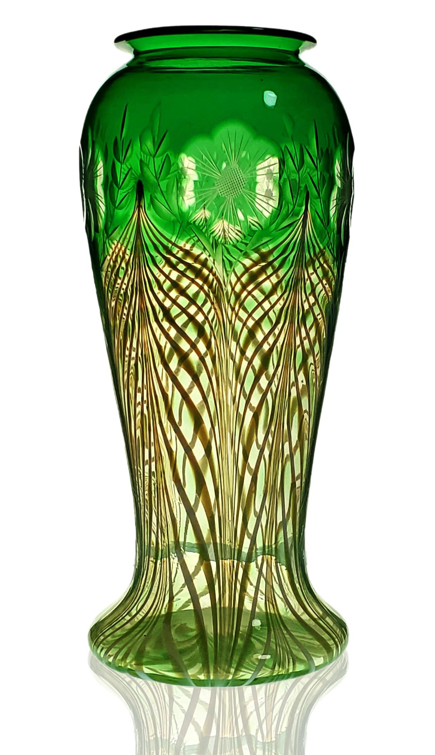 Durand green Pulled Feather design vase w/ engraved FL