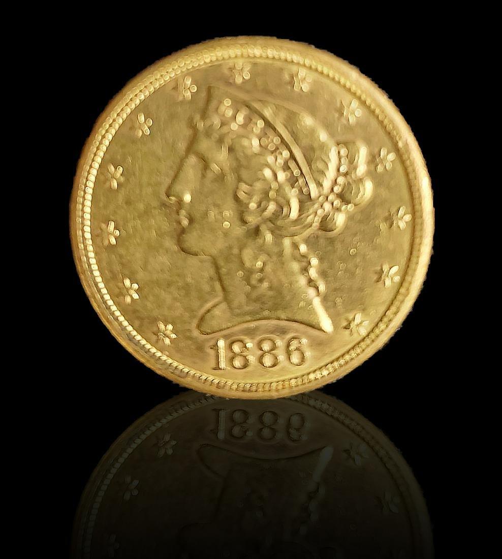 Liberty Head Gold Coin 1/2 Eagle 1886 8 Grams