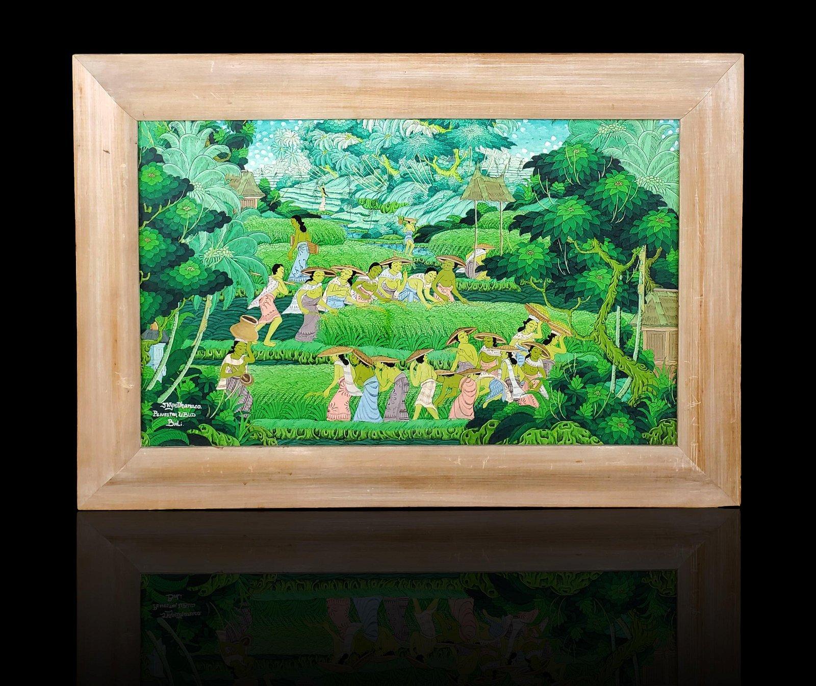 Signed J Wyn Dhanaco landscape painting rice fields