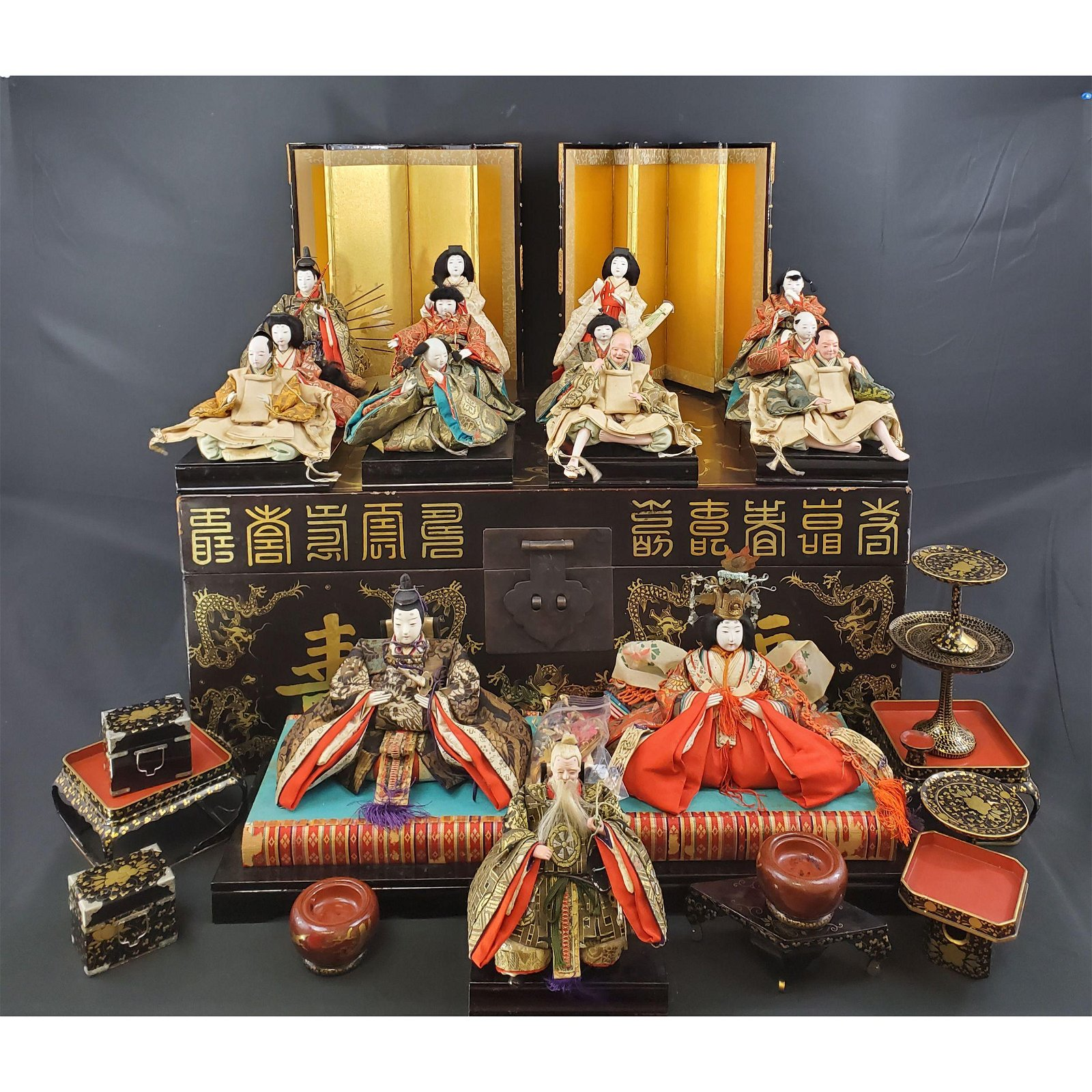 19th c Japanese dolls in lacquered Chinese trunk