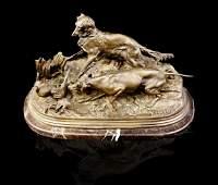"Antique Bronze Signed ""P.J. Mene"" Dogs hunting Quails"