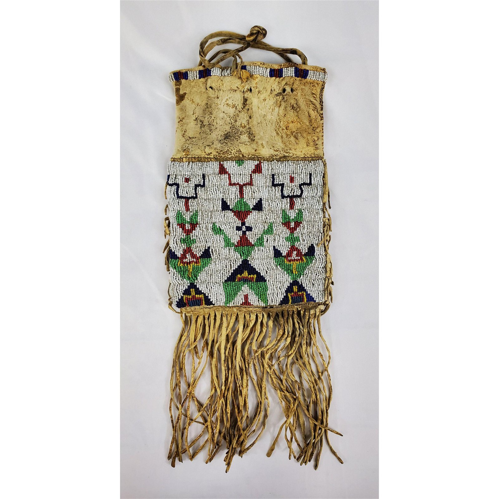 A fine antique Native American Indian beaded pipe bag