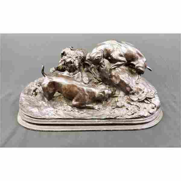 Antique bronze sculpture signed P.J Mene Hunting Dogs