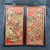 Pr of antique Chinese carved wood panels 19-20th c