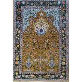 A very fine KASHAN? silk prayer rug always hung on wall