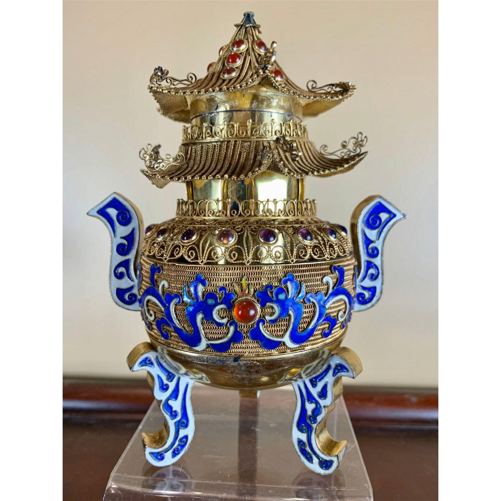 A fine Chinese Enamel on Sterling Silver Censer 1920-30