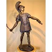 19th C bronze figure of a Roman soldier signed on base