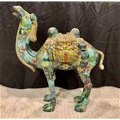 """Monumental (27"""" tall) and rare Chinese cloisonne camel"""