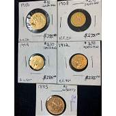 5 Gold Coins 1910 5 Indian Head 1895 5 Liberty
