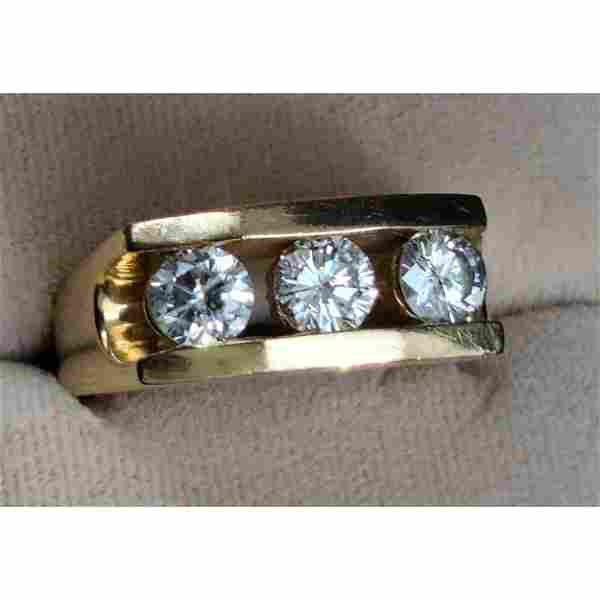 14 K Gold and Diamond Ring Total Weight 12.20 G, 2.04 C
