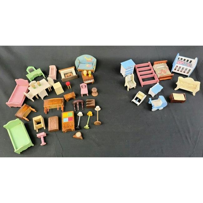 50 PCS Vintage Wooden Doll House Furniture