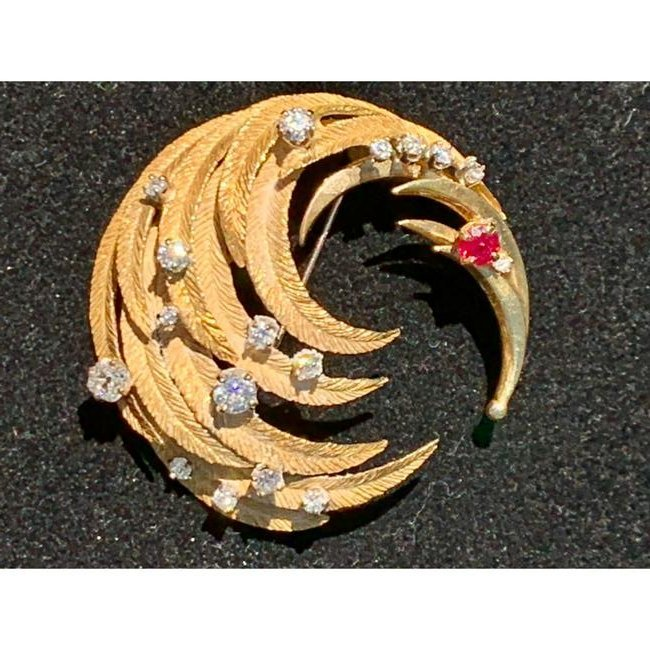 18 K Gold and Diamond Brooch w/ Ruby Accent apx 2 CT WT