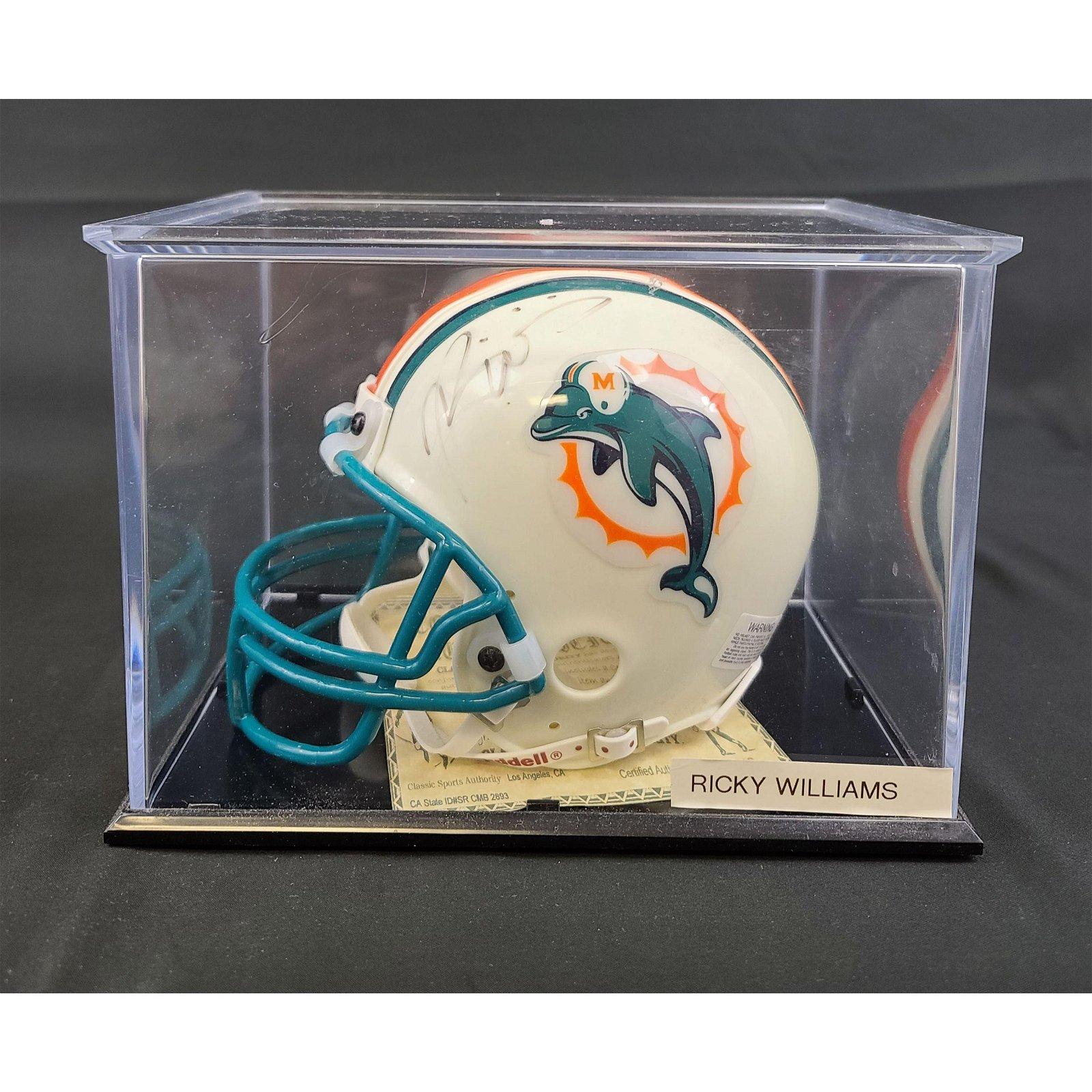 Autographed RICKY WILLIAMS Miami Dolphins Mini Helmet