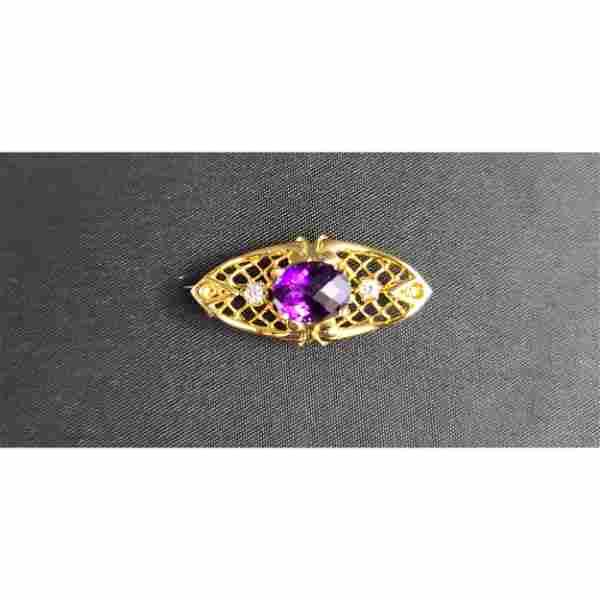 14k Amethyst & Diamond Brooch Pendant 4 Grams