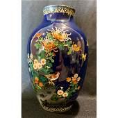 Antique fine wire cloisonne vase signed on underside
