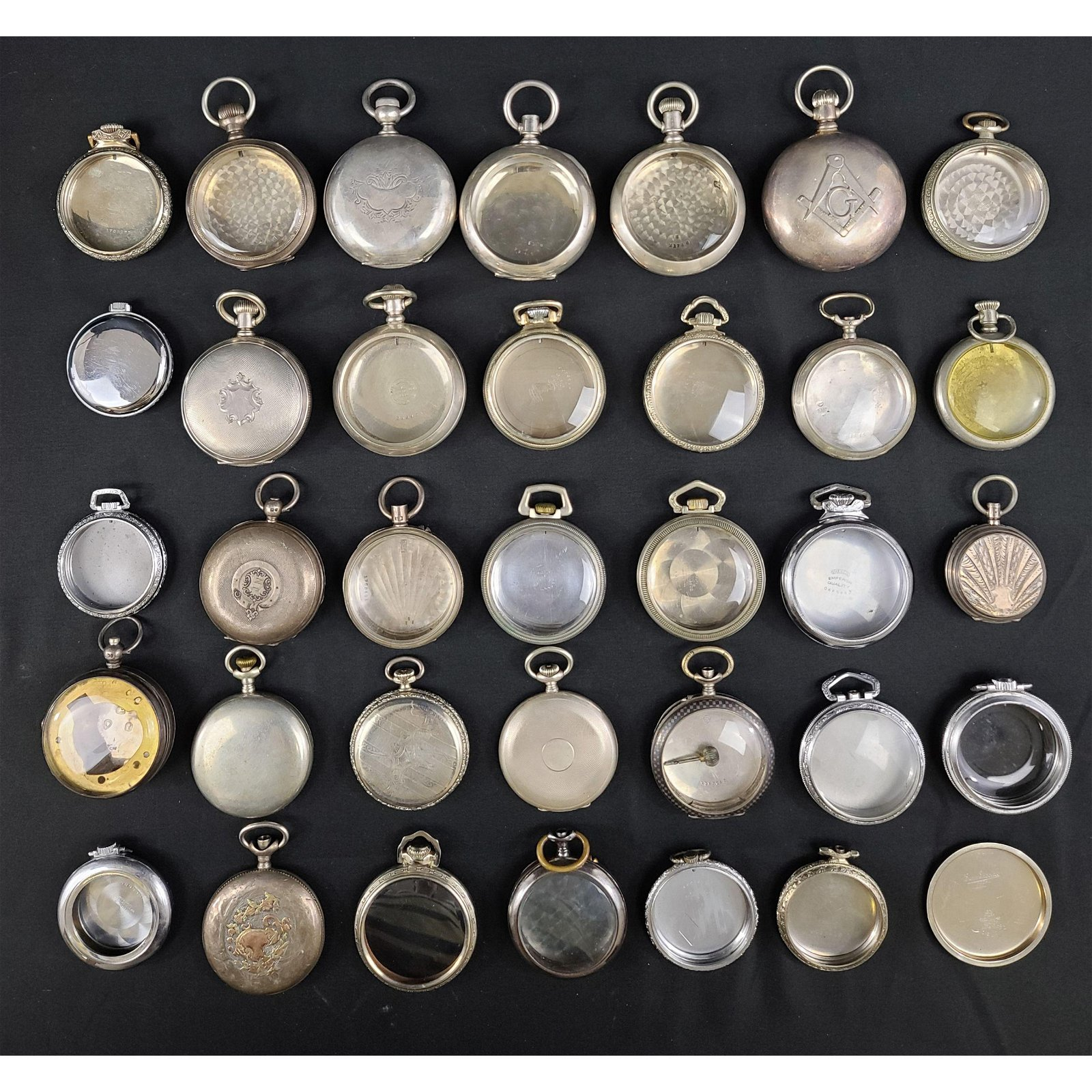 Lot 35 Sterling, Coin & Plated Silver Pocket Watch Case