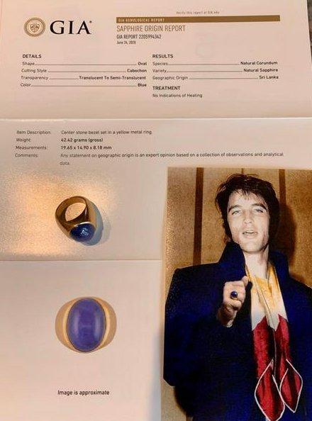 Rare Elvis Presley 22K Gold Ring 26.8 Ct Star Sapphire