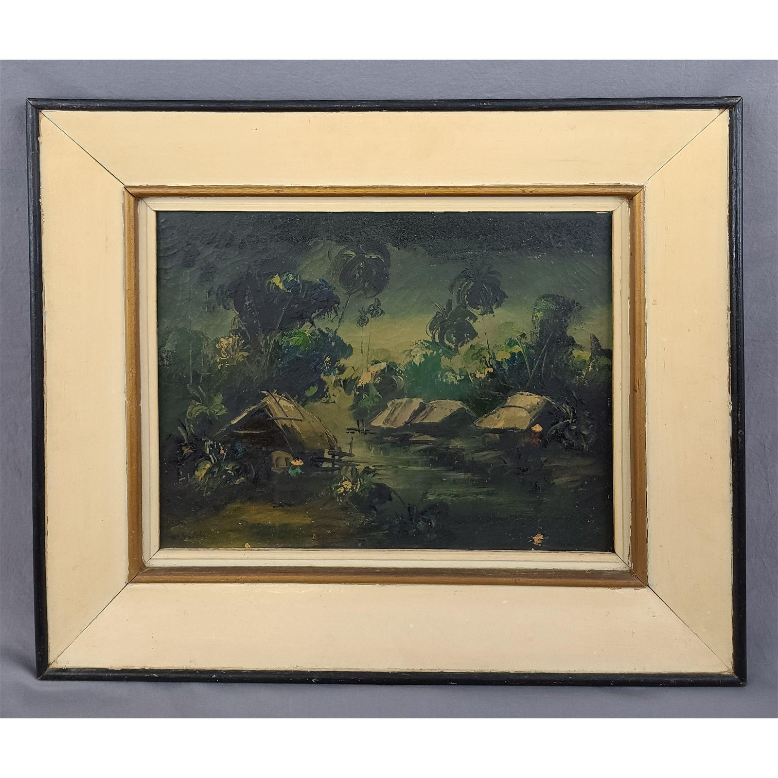 Signed Oil On Canvas Landscape Painting 20th Century
